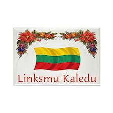 Lithuania Linksmu Kaledu 2 Rectangle Magnet (10 pa