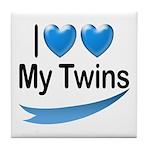 I Love My Twins Tile Coaster