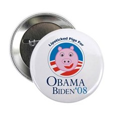 """Lipstick on a Pig for Obama 2.25"""" Button"""