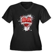 Heart Las Vegas Women's Plus Size V-Neck Dark T-Sh