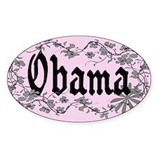 Obama Trendy Floral Vines Oval Decal