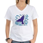 Whale Tail Splash Women's V-Neck T-Shirt