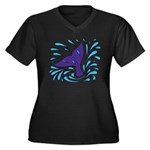 Whale Tail Splash Women's Plus Size V-Neck Dark T-