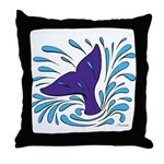 Whale Tail Splash Throw Pillow