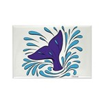 Whale Tail Splash Rectangle Magnet