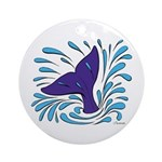Whale Tail Splash Ornament (Round)
