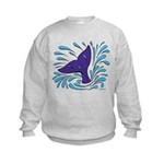 Whale Tail Splash Kids Sweatshirt