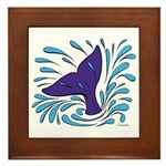 Whale Tail Splash Framed Tile