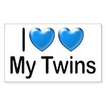 I Love My Twins Rectangle Sticker