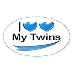 I Love My Twins Oval Sticker