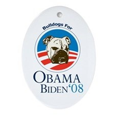 Bulldogs for Obama Oval Ornament