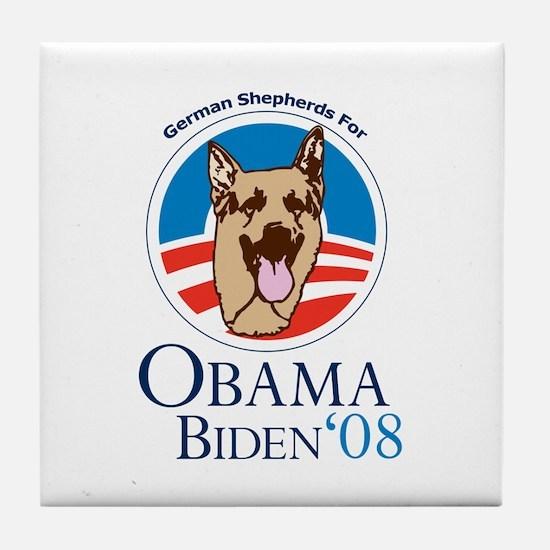 German Shepherds for Obama Tile Coaster