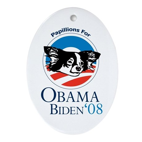 Papillions for Obama Oval Ornament