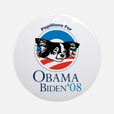 Papillions for Obama Ornament (Round)