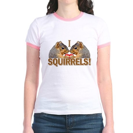 I Heart / Love Squirrels! Jr. Ringer T-Shirt