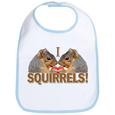 I Heart / Love Squirrels! Bib