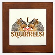 I Heart / Love Squirrels! Framed Tile