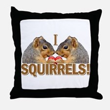 I Heart / Love Squirrels! Throw Pillow