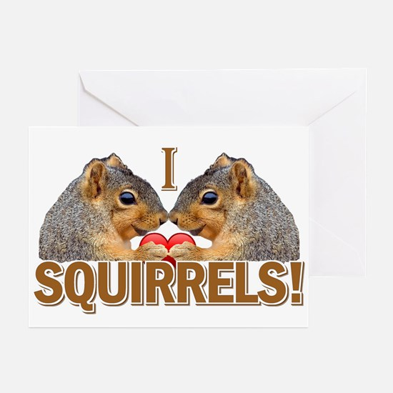 I Heart / Love Squirrels! Greeting Cards (Pk of 20