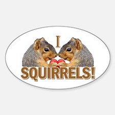 I Heart / Love Squirrels! Oval Decal