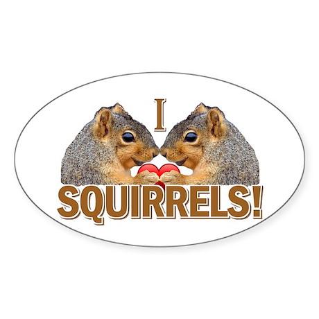 I Heart / Love Squirrels! Oval Sticker (10 pk)