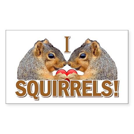 I Heart / Love Squirrels! Rectangle Sticker
