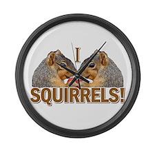 I Heart / Love Squirrels! Large Wall Clock