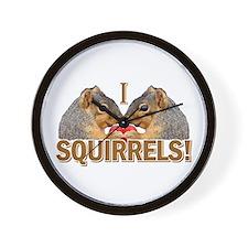 I Heart / Love Squirrels! Wall Clock