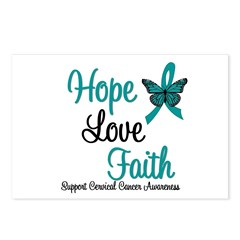 Hope Love Faith Cervical Cancer Postcards (Package