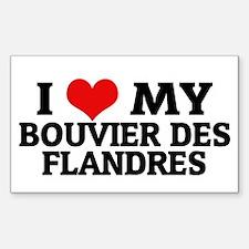 I Love My Bouvier des Flandre Sticker (Rectangular