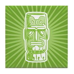Tiki (green) Tile Coaster