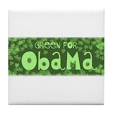Green for Obama Tile Coaster