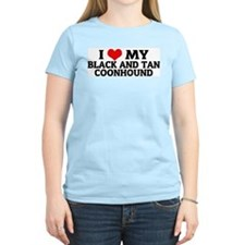 I Love My Black and Tan Coonh Women's Pink T-Shirt