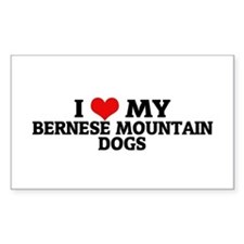 I Love My Bernese Mountain Do Sticker (Rectangular
