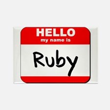 Hello my name is Ruby Rectangle Magnet