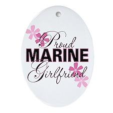 Proud Marine Girlfriend Oval Ornament