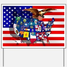 USA State Flags Yard Sign