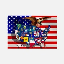 USA State Flags Rectangle Magnet