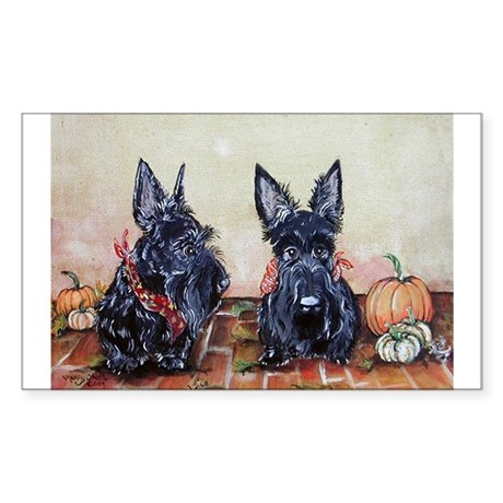 Autumn Scotties Rectangle Sticker