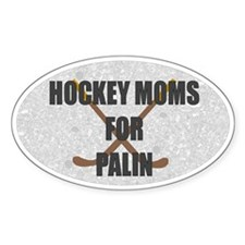 Hockey Moms for Palin Oval Bumper Decal