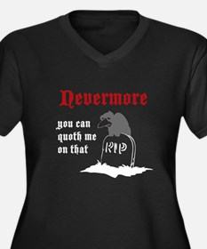 Nevermore (white text) Women's Plus Size V-Neck Da