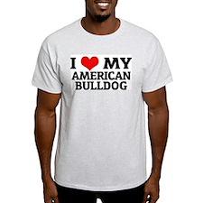 I Love My American Bulldog Ash Grey T-Shirt