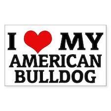 I Love My American Bulldog Rectangle Decal