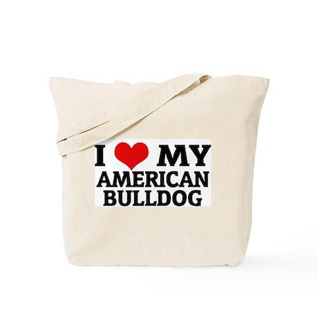 I Love My American Bulldog Tote Bag