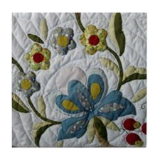 Carol's Floral Applique Tile Coaster