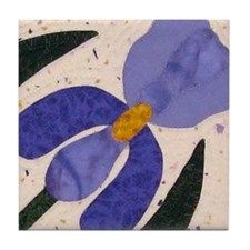 blue & purple iris Tile Coaster