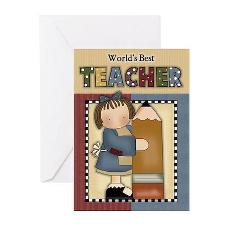Worlds Best Teacher Greeting Cards (Pk of 10)
