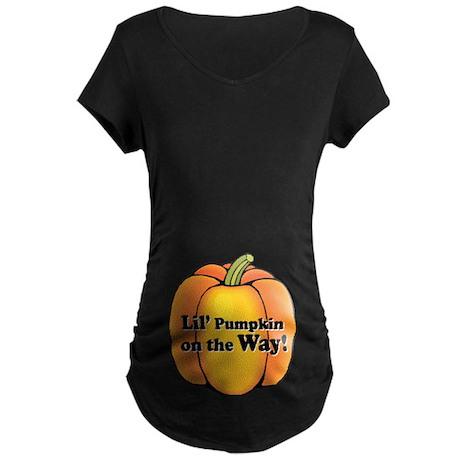 Little Pumpkin on the Way Maternity Dark T-Shirt