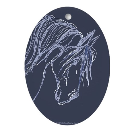 Horse Head Art Oval Ornament