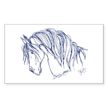 Horse Head Art Rectangle Sticker